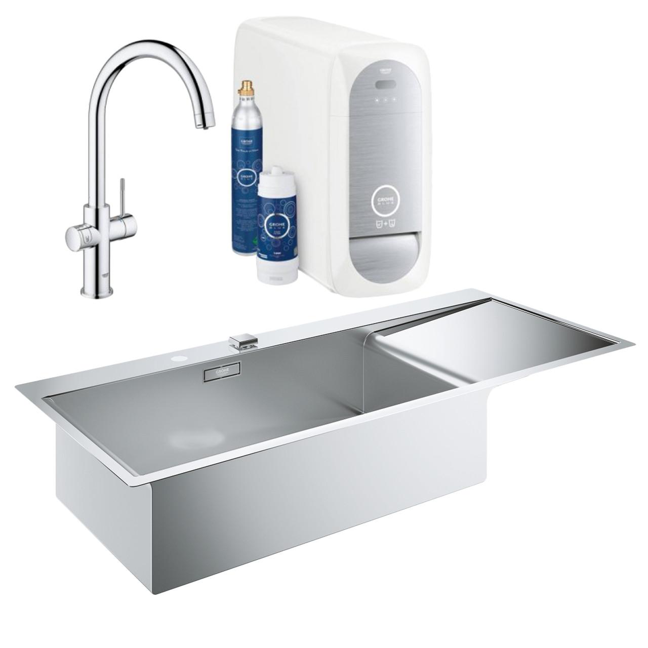 Набор Grohe мойка кухонная K1000 31581SD0 + смеситель Blue Home 31455001