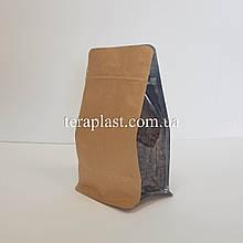 Пакет с плоским дном 250г крафт+прозрачные фальцы 120х80х200 с боковой застежкой