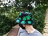 Панама HUF чёрная (панамка хуф с зелёными листьями марихуаны мужская женская), фото 4