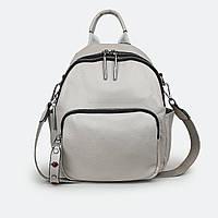 Модный сумка-рюкзак женский кожаный светло-бежевый Z015, фото 1