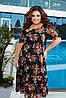 Летнее легкое двухслойное шифоновое платье с в воланом по подолу, цветочный принт, батал большие размеры, фото 6