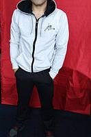 Мужской летний спортивный костюм большого размера серая мастерка с капюшоном и черные штаны