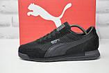 Черные мужские лёгкие кроссовки в стиле Puma натуральный замш и сетка, фото 3