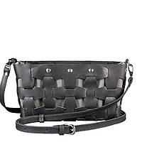 Кожаная плетеная женская сумка Пазл S Черная Krast BN-BAG-31-g, КОД: 1661043