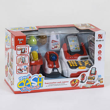 Игрушечный кассовый аппарат с корзинкой для продуктов Игрушечный кассовый апарат с деньгами и сканером