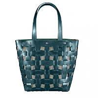 Кожаная плетеная женская сумка BlankNote Пазл Krast L Зеленая BN-BAG-33-malachite, КОД: 1277504