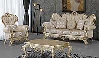 Комплект мягкой мебели в стиле  бароко  ,диван+2 кресла , платинового цвета ,Фьюжн
