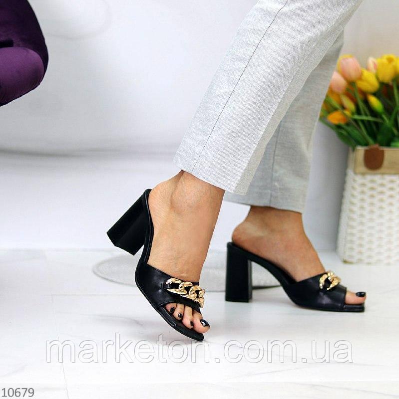 """Женские кожаные шлепки на каблуках Черные """"Chainlet"""""""