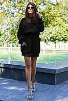 Молодежное платье худи спортивное платье с капюшоном черное Люкс Коллекция