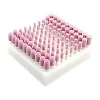 Шлифовальный камень плавленый оксид алюминия на валу 3мм (разные формы) розовый