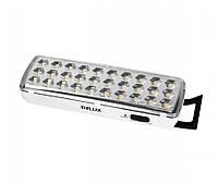 Светильник светодиодный аварийный аккумуляторный DELUX REL-501 (3.7V1,2Ah) 30 LED 2W 202x68x40