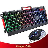 Профессиональная клавиатура с мышкой K3 Механика - игровой комплект проводная клавиатура с подсветкой + мышь