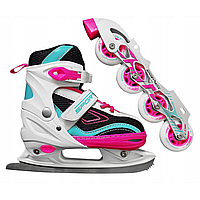 Роликовые коньки SportVida 4 в 1 SV-LG0033 Size 39-42 Pink/Blue