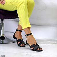 """Женские кожаные босоножки на низком ходу Черные """"Molly"""", фото 1"""