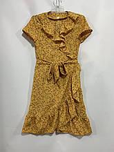 Летнее платье для девочки на запах р. 6-10 лет