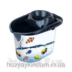 Ведро с отжимом для МОП Рыбки Elif