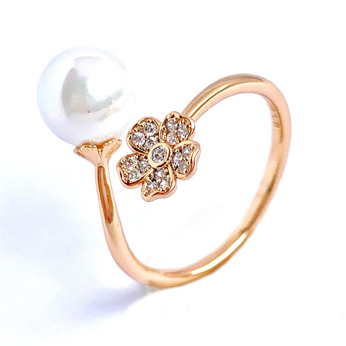 """Кольцо Xuping из медицинского золота, жемчуг """"майорка"""" и белые фианиты, позолота 18K, 12222"""
