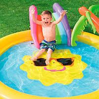 Бассейн детский Солнышко Bestway 53071 с горкой,Бассейн для малышей,Надувные бассейны для детей,Басейн дитячий