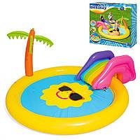 Бассейн детский Солнышко Bestway 53071 с горкой,Бассейн для малышей,Надувные бассейны для дома,Басейн