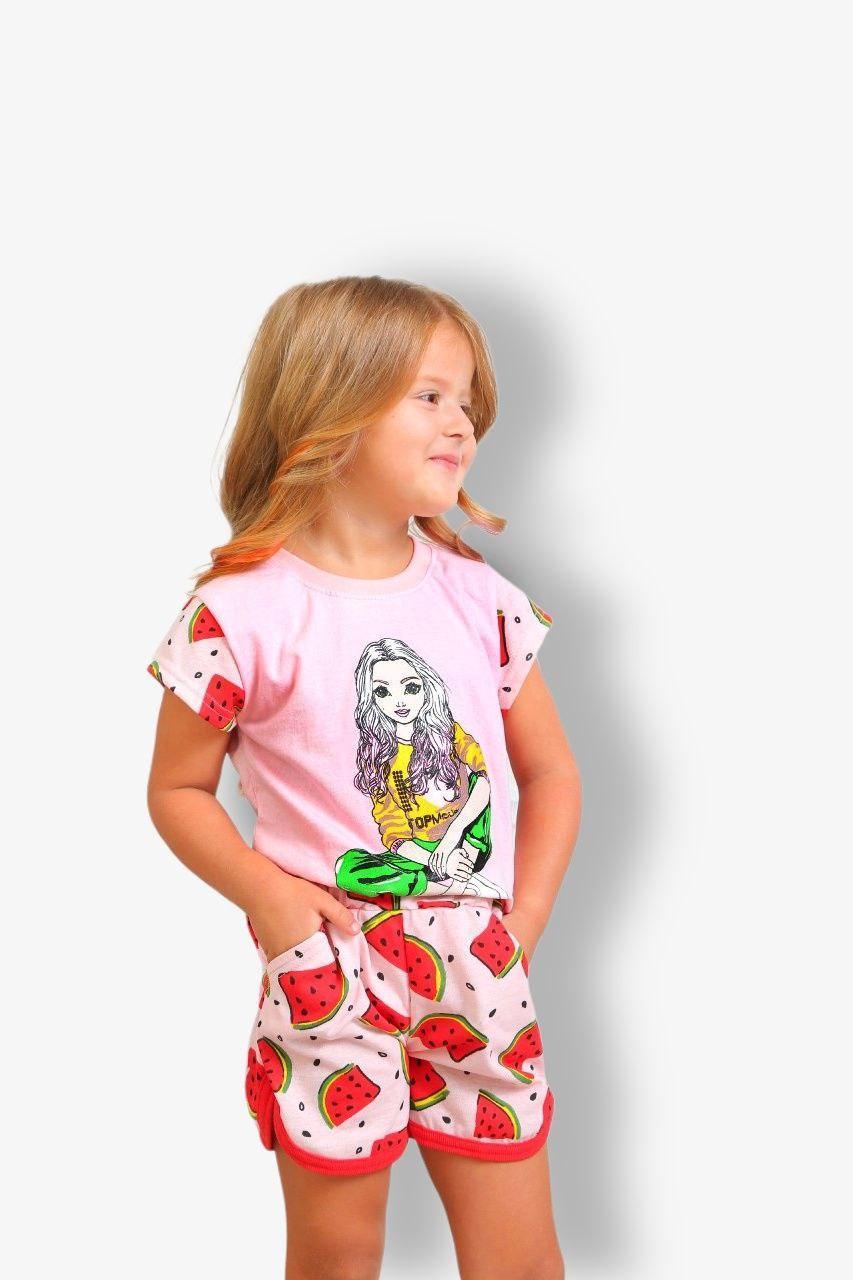 Летний комплект для девочки Арбуз футболка+шорты кулир
