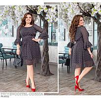 Красиве шифонова сукня з спідницею кльош по коліно великих розмірів батал 50-60 арт. 873
