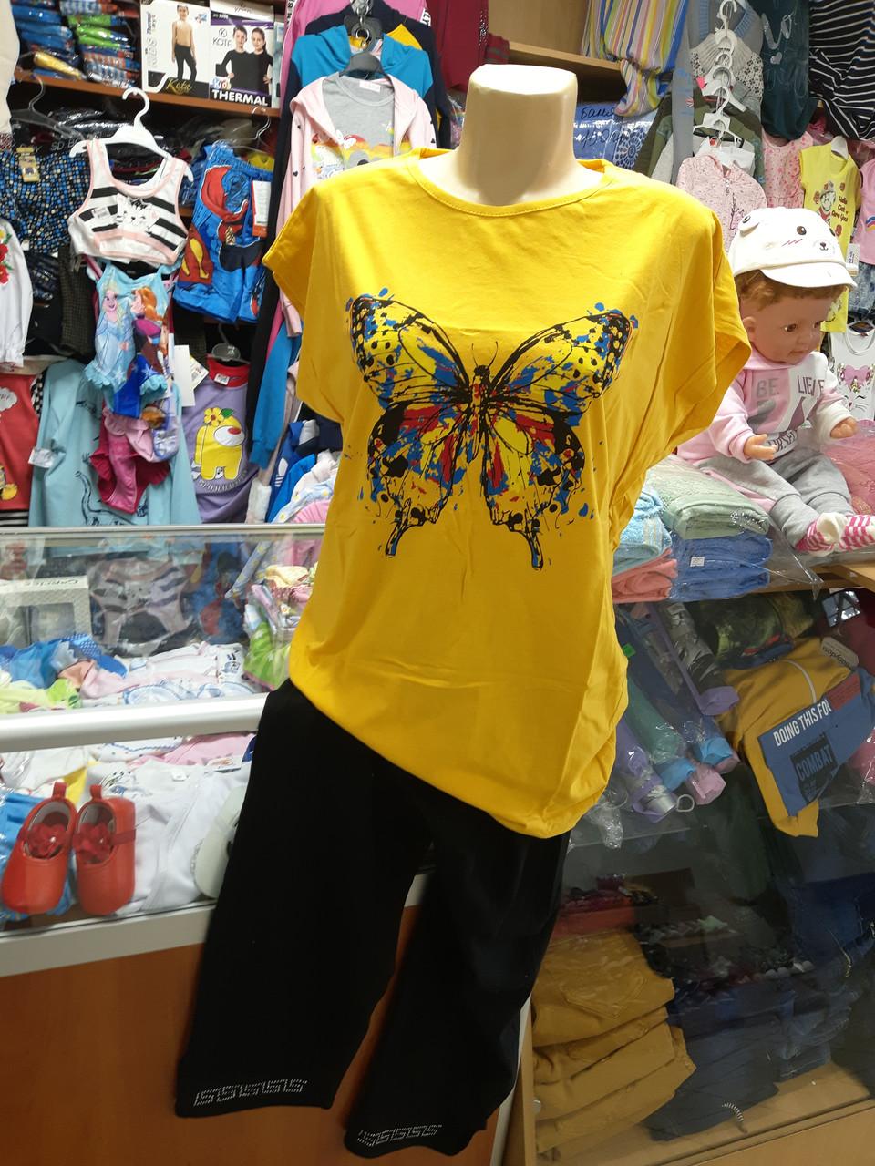 Жіночий літній костюм футболка капрі великі розміри 52 - 58