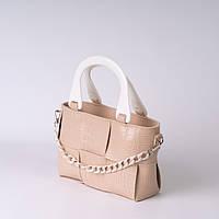 Бежева повсякденна жіноча сумочка K29-21/2 маленька плетена через плече з ручками і ланцюжком, фото 1