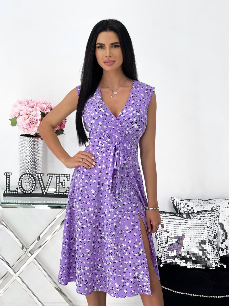Платье женское софт принт с красивым декольте