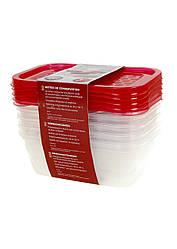 Контейнер для хранения ERNESTO 0,5л 5шт Красный K10-110470, КОД: 1846517