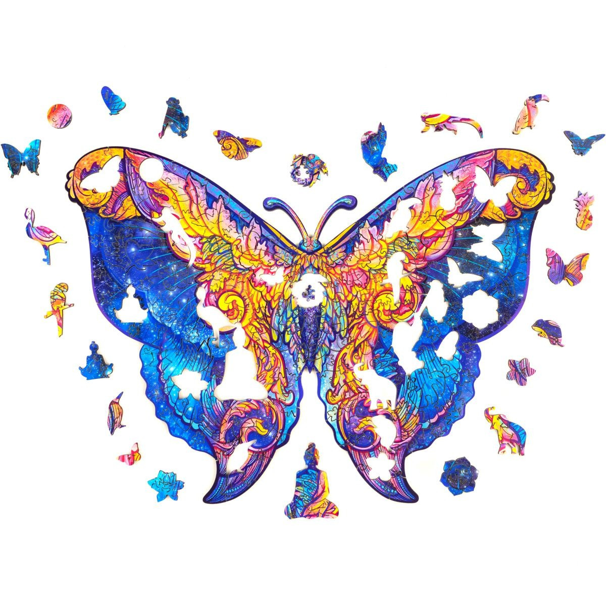 "Дерев'яні фігурні пазли ""Wooden jigsaw puzzle of Galactic Butterfly"" А5, дерев'яний пазл Метелик (NS)"