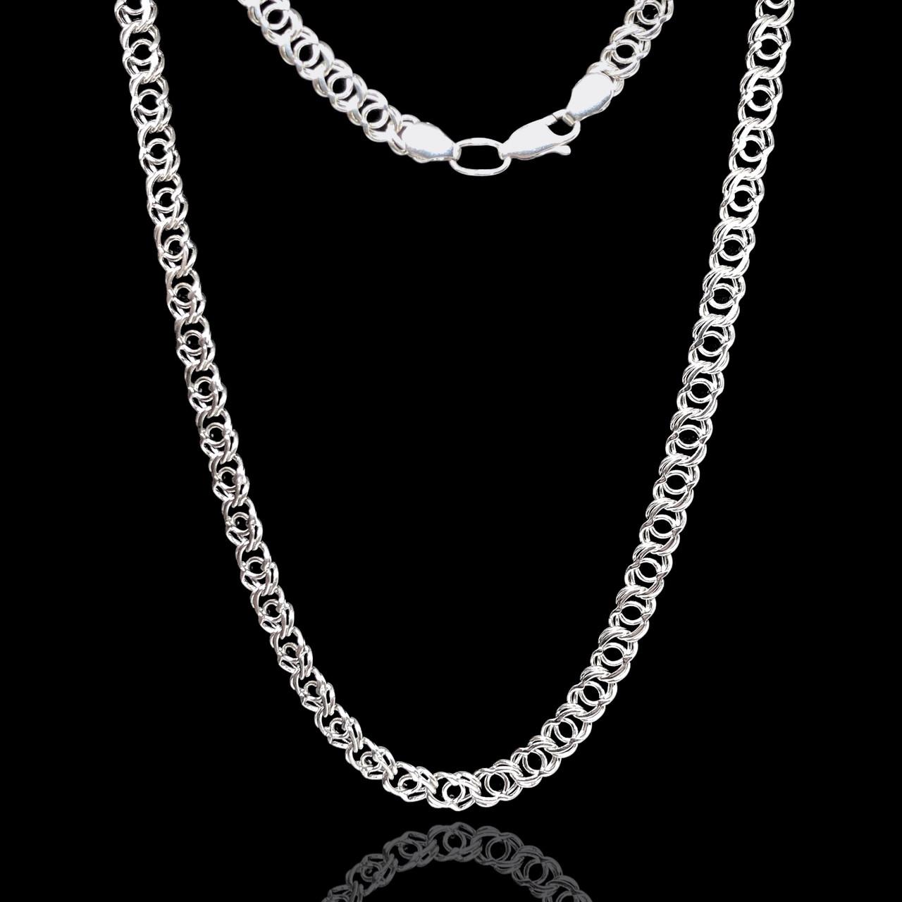 Срібний ланцюжок, 550мм, Арабська бісмарк, 27 грамів, світле срібло