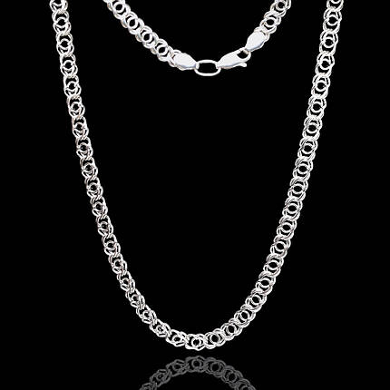Срібний ланцюжок, 550мм, Арабська бісмарк, 27 грамів, світле срібло, фото 2
