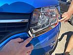 Накладки на фары (2 шт, нерж) для Dacia Logan MCV 2013↗ гг.