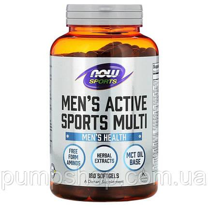 Вітаміни для чоловіків Now Sports men's Sports Active Multi 180 капс., фото 2