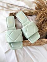 Жіночі шльопанці з квадратним носком. Колір м'ята. Розміри 36-40, фото 1