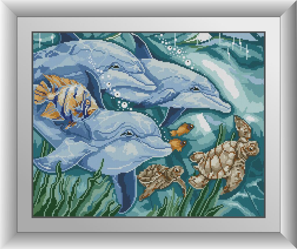 30537 Набор алмазной мозаики Три дельфина