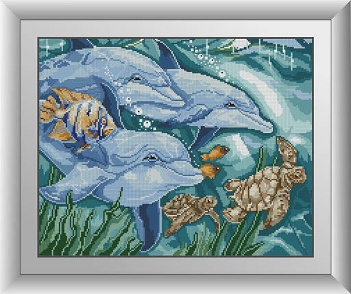 30537 Набор алмазной мозаики Три дельфина, фото 2