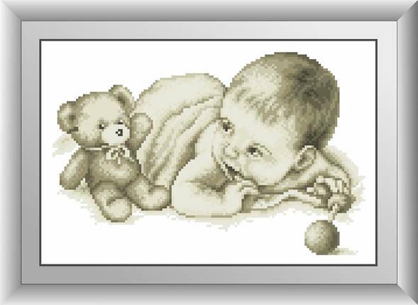 30573 Набор алмазной мозаики Малыш с мишкой, фото 2