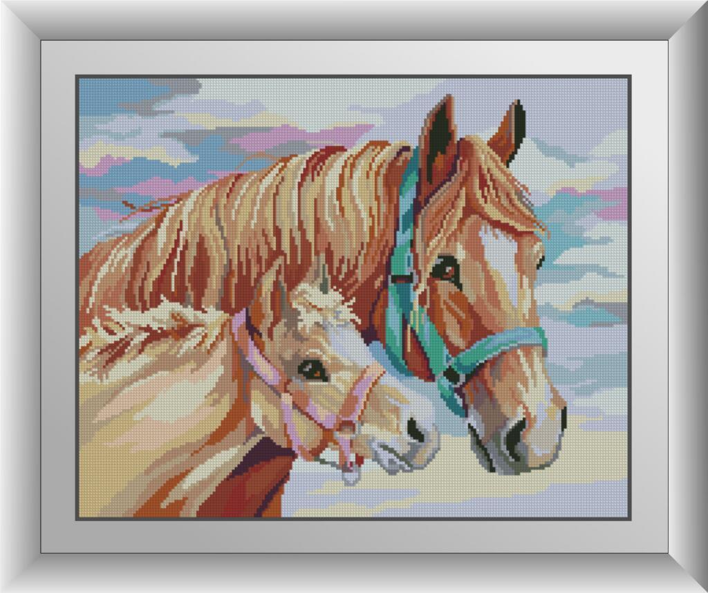 30576 Набор алмазной мозаики С мамой. Лошади.