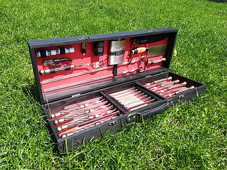 """Набор из 8 шампуров с кованной ручкой """"Канат"""" (670х12х3 мм) + комплект, в деревянном черно-красном кейсе"""
