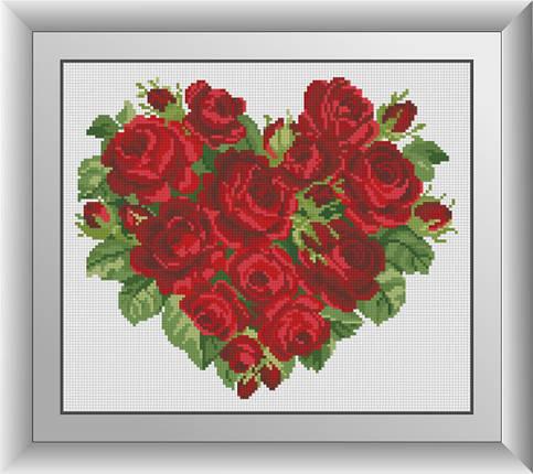 30609 Набор алмазной мозаики Сердце роз, фото 2