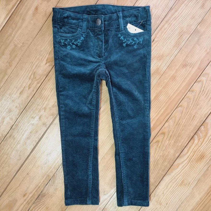 Вельветові штани для дівчинки, ріст 98, смарагдовий колір