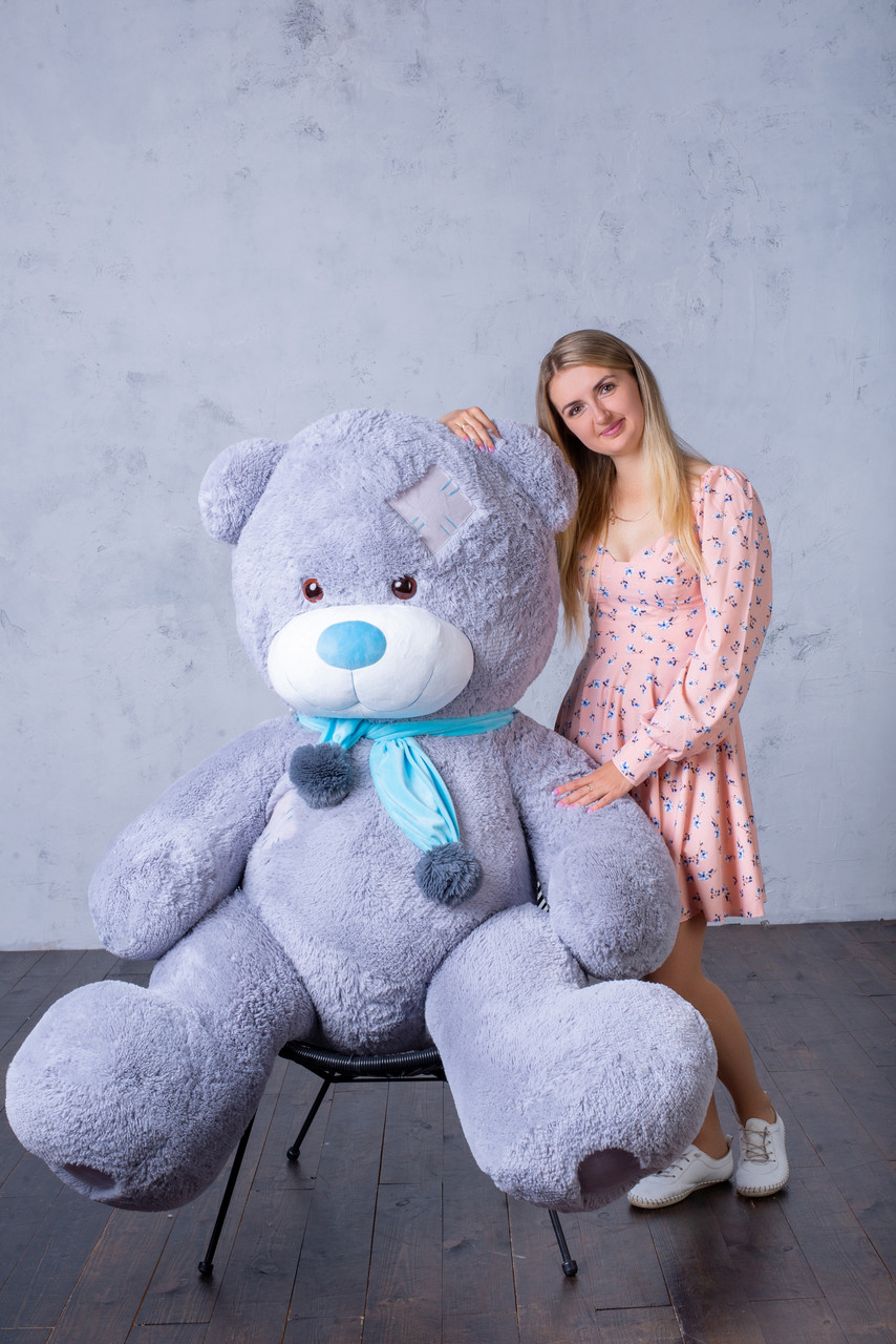Ведмедик з латками Плюшевий Yarokuz Дональд 2 метра Сірий