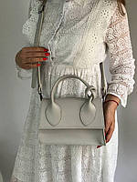 Серая маленькая женская сумочка Zaza-03 кросс-боди портфельчик через плечо с ручкой узелком, фото 1