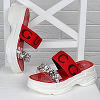 Шлепанцы женские спортивные Gucci style красные с камнями, Красный, 40
