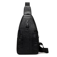 Чоловіча сумка на одне плече, слінг Alligator. Чорна / 2799