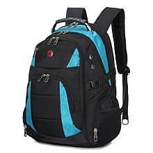 Місткий рюкзак з ортопедичною. Чорний з синім. 35L / 7697 blue