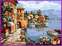 Картина по номерам на холсте Городок, набор для творчества 40*40см подарок, живопись, Раскраски