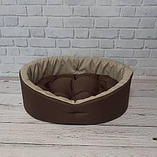 Лежак для котов и собак коричневый с бежевым