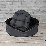 Лежак для собак и котов серый/черный, фото 2
